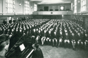 The school hall at Ridgeway Road, c. 1954. (click to enlarge).