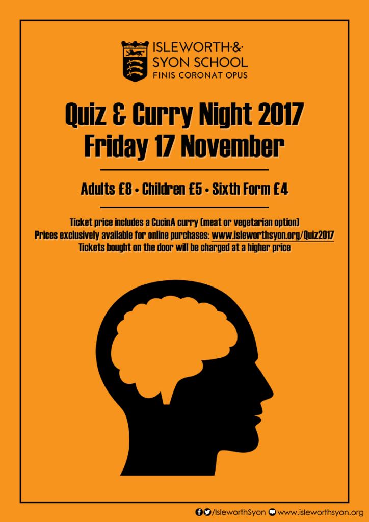 Quiz & Curry Night 2017 - Isleworth & Syon School